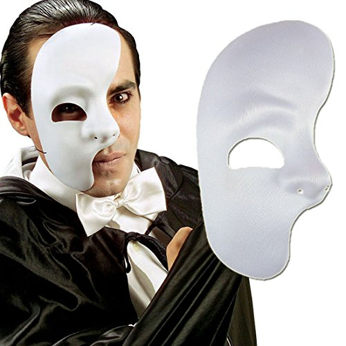 Amakando Weiße Phantommaske Halbes Gesicht Maske Kunststoff Phantom der Oper Faschingsmaske Opern Karnevalsmaske Plastik Halbmaske Maskenball Accessoire Mottoparty