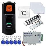 Dongyang RFID Mini Huella Digital de Acceso Biométrico Independiente con Cerradura de Perno de Caída Eléctrica, Fuente de Alimentación DC12V, Botón de Salida de Puerta, llaveros de 10pcs