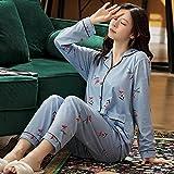 Gbrand Primavera otoño Pijama de Mujer Estampado de algodón para Mujer más Gordo de Gran tamaño M-7XL de Dos Piezas Breve Ropa de casa de Manga Larga -L_50-62.5KG