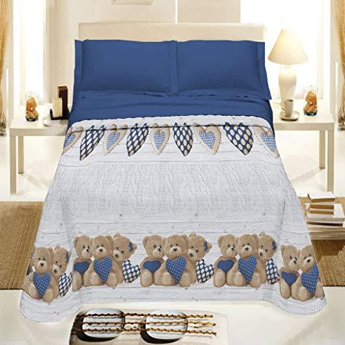 HomeLife Frühling Sommer leichte Tagesdecke [220x280], Qualität aus Italien|Hergestellt aus hochwertiger Baumwolle|Teddybären Herzen Motiv|Einzelbettdecke aus feinem Stoff für warme Jahreszeiten Blau