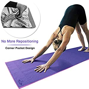 Heathyoga Non Slip Yoga Towel, Exclusive Corner Pockets Design, Microfiber and Silicone Coating Layer, Free Carry Bag and Spray Bottle, Perfect for Hot Yoga, Bikram and Pilates