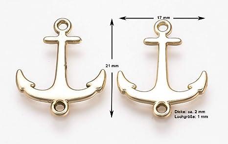 Farbe w/ählbar Farbe:Silber 21x17 mm 10 St/ück Sadingo Schmuckverbinder Anh/änger Anker Metall Schmuck basteln Armb/änder