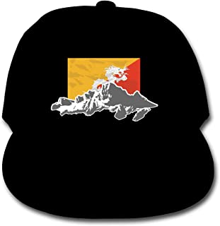 Bonshion Sombrero Ajustable del Camionero de Las Gorras de béisbol del Color sólido de la Bandera de Bhután para el Negro de Las Muchachas del Muchacho