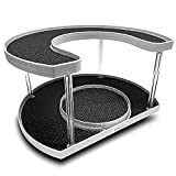 STOW & SPIN 2 Tier Lazy Susan Turntable Spice Rack Organizer Rotating Spice Holder Shelf w/Double Spinner Seasoning Organizer Racks for Spices Deluxe Spice Racks for Cabinets - MADE IN USA -