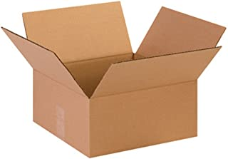 """Aviditi 13136 Flat Corrugated Cardboard Box 13"""" L x 13"""" W x 6"""" H, Kraft, for Shipping, Packing and Moving (Pack of 25)"""