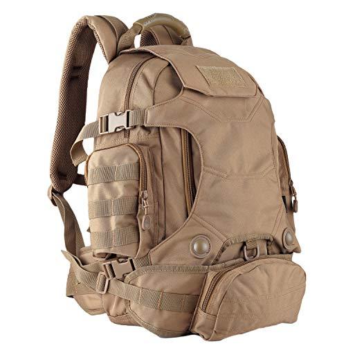 OLEADER Militär taktischer Rucksack 40L wasserdichter Rucksack Große Molle Assault-Rucksäcke mit Taillentasche für Outdoor-Trekking, Reisen, Wandern, Camping (Khaki)