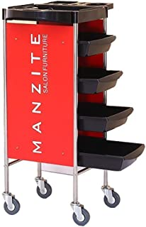 ZQE-Q 病院トロリー、医療用品ラック、ハンドルと医療カートツール3ティアホテルケータリングカート、プラスチッククリーニングサービスローリングトロリーレストラン、40〜50キロの負荷容量のためのダイニングカート、レッド76.3×30.6×72...