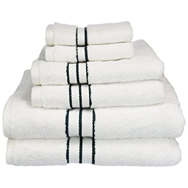 eLuxurySupply 900 Gram 6-Piece Long Staple Cotton Towel Set by ExceptionalSheets White With Colored Lines, Teal