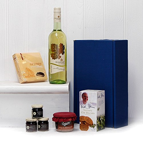 75cl Las Montanas White Wine and Nibbles Presented in a Blue Gift Box Food Hamper - Gift Ideas for Mum, Mothers Day, Birthday, Anniversary, Dad, Fathers Day, him, her, Business gifts, Corporate, Congratulations