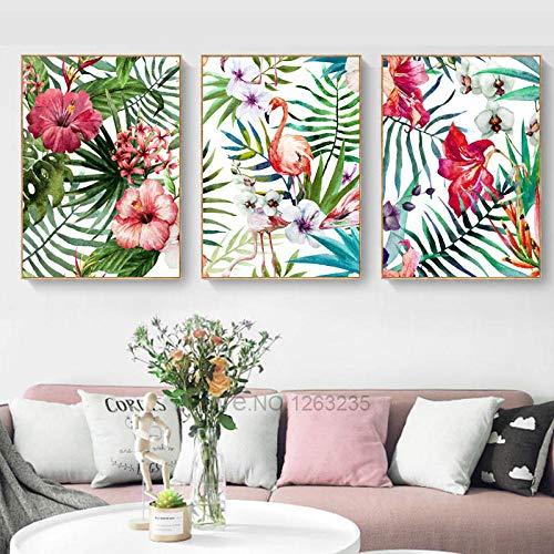 Tanyang Hojas Tropicales pájaro Flor Flamenco Pared Arte nórdico Cartel Pared Cuadros para Sala de Estar Pared Arte Lienzo Pintura sin Marco 50 * 70 cm * 3 Piezas