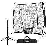 VIVOHOME 7 x 7 Feet Baseball Backstop Softball Practice Net with Strike Zone Target Tee...