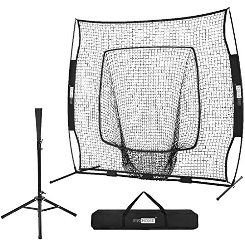 VIVOHOME 7 x 7 Feet Baseball Backstop Softball Practice Net with Strike Zone Target Tee and Carry...