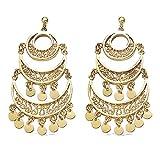 Pendientes colgantes chapados en oro de 18 quilates, gitanes/abalorios/pasamanos – Bolsa de terciopelo de regalo