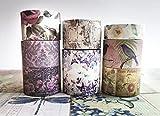 Vintage Antique Roses and Florals washi Tape (7 Rolls), Sticker...