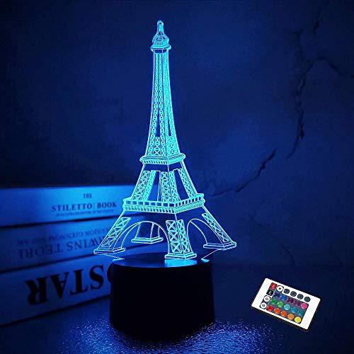Torre Eiffel Nightlight 3D Lámpara de ilusión Visual Dormitorio Decoración LED Lámpara con Control Remoto 16 Color Cambio París Estilo Moda Acrílico Regalos para Cumpleaños Navidad