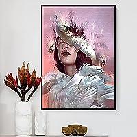 寝室の壁画 クリエイティブアニメエイリアンガールキャンバス絵画鳥の葉の花蝶ポスタープリントウォールアート写真ガールルームの家の装飾 60X80CM(23*31inches)