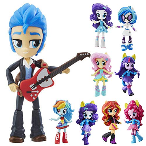 Unique NEW Inspired by My Little Pony Equestria Girls (Set of 9 toys) - Pinkie Pie, Rainbow Dash, Twilight Sparkle, Rarity, Fluttershy, Sunset Shimmer, Vinyl Scratch and Flash Sentry [Collection 2020]