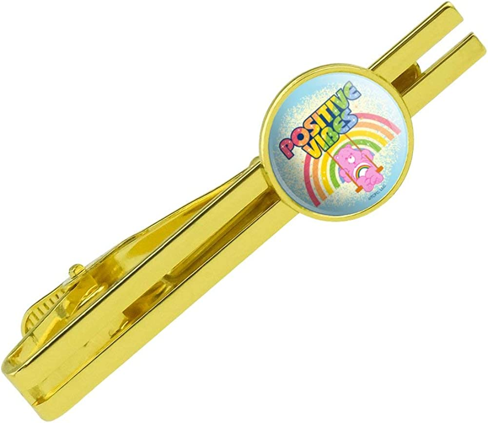 GRAPHICS & MORE Care Bears Cheer Bear Positive Vibes Round Tie Bar Clip Clasp Tack Gold Color Plated