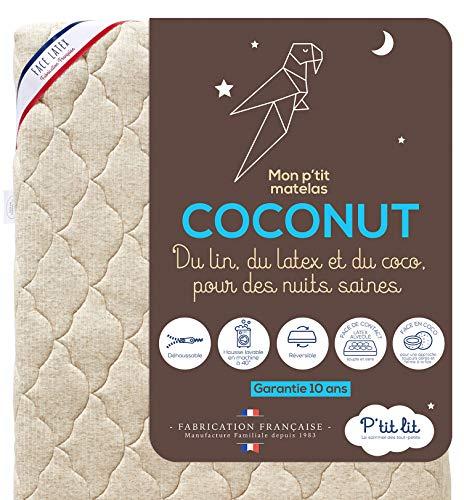 P'tit Lit - Matelas Bébé Coco Nut - 60x120 cm - 1 face Latex / 1 face Coco d'Origine Végétale - Lin : Naturellement Thermorégulateur - Déhoussable - Oeko Tex® - Fabrication Française