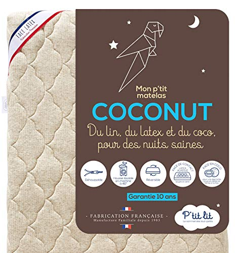 P'tit Lit – Colchón para bebé Coco Nut – 60 x 120 cm – 1 Cara de látex / 1 Cara de Coco de Origen Vegetal – Lino: naturalmente termorregulador – Desenfundable – Oeko Tex® – Fabricación Francesa
