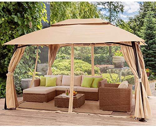 GFSDGF 10 x 13 pies jardín Patio Gazebo Totalmente Cerrado Clima Resistente a los Rayos UV con/Mosquitos y Cortinas
