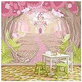 azutura Pink Princess Castle Papier Peint Photo Conte de fée Papier Peint Chambre...
