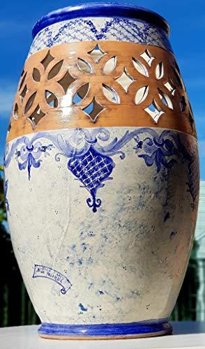 Portaombrelli Linea Classica Blu Monocromo Ceramica Realizzato e Dipinto a mano Oggetto d'arte Pezzo Unico Le Ceramiche del Castello Made in Italy Dimensioni 50 x 32 cm