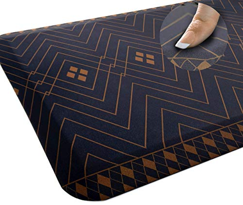 Sky Solutions Anti Fatigue Mat - Cushioned Comfort Floor Mats for Kitchen, Office & Garage - Padded Pad for Office - Non Slip Foam Cushion for Standing Desk (20x32x3/4-Inch, Indigo Deco)