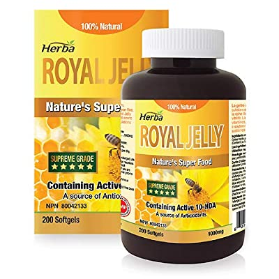 Herba Royal Jelly - Good for The Maintenance of Good Health. 100% Natural, 200 Soft gels, Obtained NPN #80042133 from Health Canada