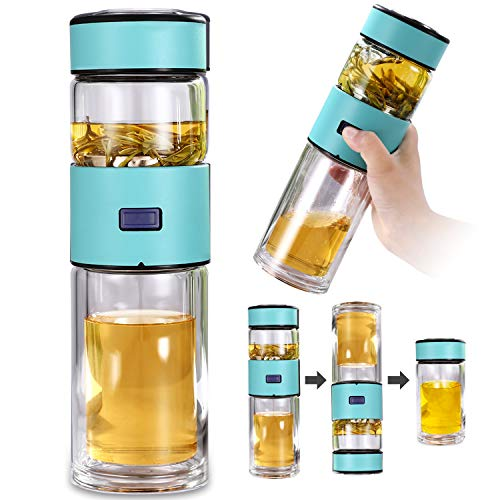 East Mount Tea Tumbler with Infuser, BPA Free Double Wall Glass Travel Tea Mug with Stainless Steel Filter, Leakproof Tea Bottle with Strainer for Loose Leaf Tea and Fruit Water 14 Ounce.(blue)