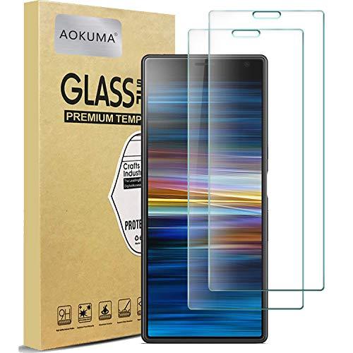 AOKUMA für Sony Xperia 10 Plus Panzerglas, 【2 Stücke】 Glas kompatibel mit Sony Xperia 10 Plus Schutzfolie, Premium Glasfolie mit 9H Härte, Anti Kratzer, Splitterfest,Anti-Öl,Anti-Bläschen