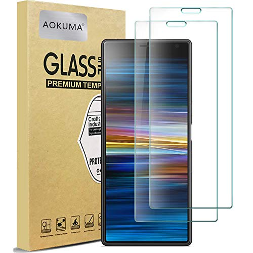 AOKUMA Sony Xperia 10 Plus Verre Trempé, [Lot de 2] Verre Trempé Sony Xperia 10 Plus [0.26mm] [Extreme Résistant aux Rayures][Haut Définition] Facile Installation Film Protection écran