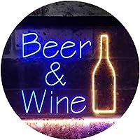 Beer Wine Bottom Bar Club Garage Dual Color LED看板 ネオンプレート サイン 標識 青色 + 黄色 400 x 300mm st6s43-i3391-by