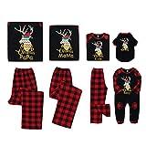 Petyoung Conjunto de Pijamas a Juego de La Familia de Navidad Trajes de Cuadros de Renos de Manga Larga Ropa de Dormir de Navidad