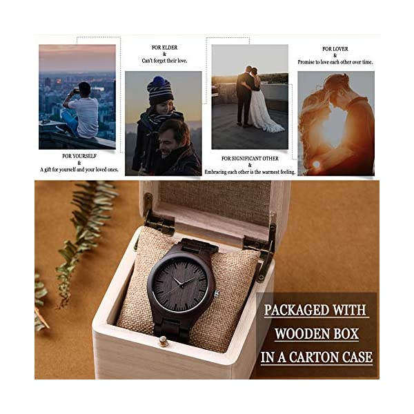 Customized Engraved Wooden Watches, Personalized Wood Watches for Men for Boyfriend My Man Fiancé Husband Dad Son Birthday Anniversary Graduation Christmas with Wooden Case