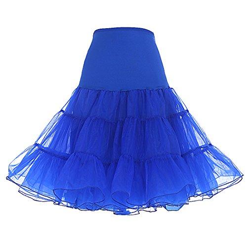 Dresstells DRESSTELLS 1950 Petticoat Reifrock Unterrock Petticoat Underskirt Crinoline für Rockabilly Kleid Royal Blue S