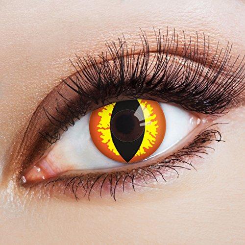 aricona Kontaktlinsen - rot-gelbe Halloween Kontaktlinsen Katzenaugen - bunte farbige Kontaktlinsen ohne Stärke