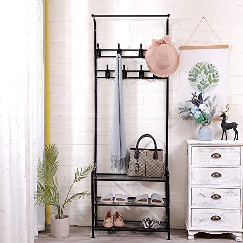 Aiboria Perchero para ropa con estantes zapatero, perchero con 3 estantes de red para zapatos, 8 ganchos para dormitorio, para recibidor, dormitorio, 63,5 x 29,5 x 180 cm (negro)
