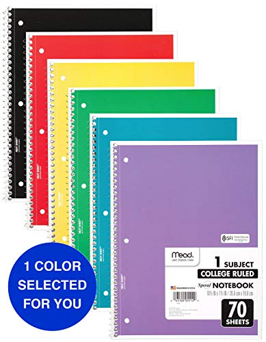 Mead Spiral Notebooks, 1 Subject, College Ruled, 70 Sheets, Assorted Colors, Color Selected For You May Vary, 1 Count (05512)