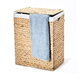 Seville Classics Handwoven Lidded Removable Washable Canvas Liner Portable Laundry Hamper ...