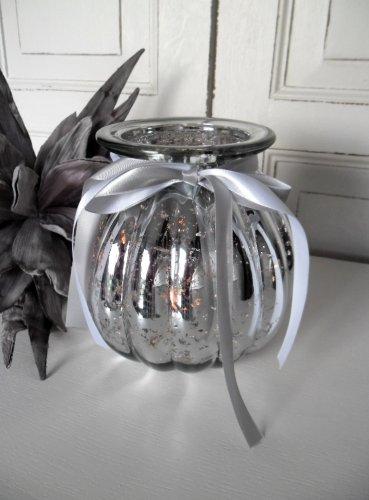 Unbekannt Windlicht Glas Teelichthalter Bauernsilber Landhaus Shabby Chic