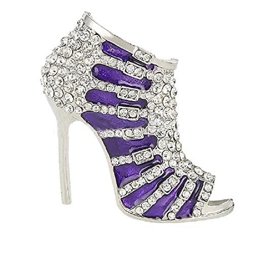 Elegante señora de tacón alto zapato de imitación diamante Rhinestone aleación de cristal Broches Pin de tacón alto zapato broche Pin
