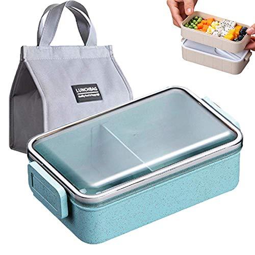 DLILI Lunchbox Mikrowelle Lebensmittelvorratsbehälter mit Geschirr Weizenstroh Geschirr Kids School Office Tragbare Bento Box, B, einzeln