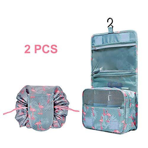 2 Pack Beauty Case da Viaggio Borsa da Toilette Tuscall Trucco Cosmetico Portatile Organizzatore Ripiegabile Impermeabile per il trucco pigro di grande capacità - IvyLife