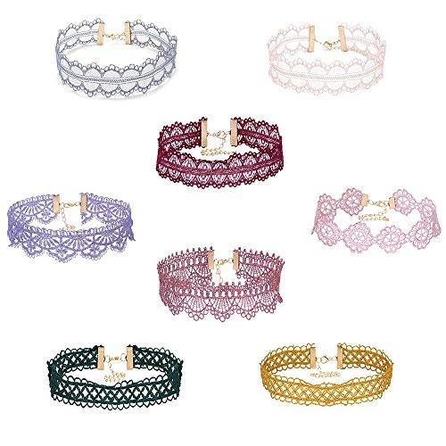 Mingjun 8piezas Juego de encaje Gargantilla de terciopelo multicolor moda elegante Vintage Gótico Collar