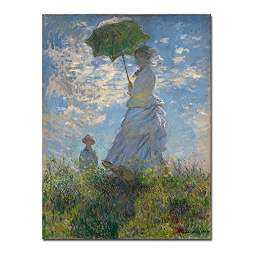 Wieco Art Woman with a Parasol Madame Monet and Her Son Canvas Prints Wall