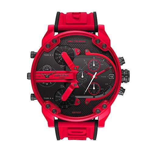 Diesel Mr Daddy Three-Hand Silicone Watch Red One Size