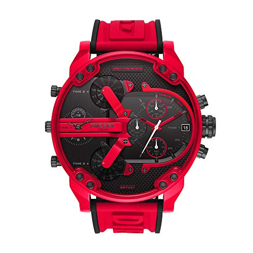 Diesel Mr Daddy Three-Hand Silicone Watch Red One Size