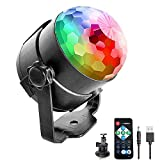 Sound Activated Disco Party Lights with 1M USB Power Cable for Outdoor Indoor USB Plug RBG Rotating Disco Strobe Ball Lamp Stage Par Light for Car Birthday DJ Bar Club Wedding