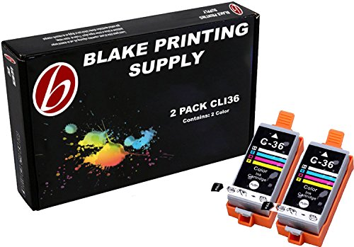 2 Pack Compatible Canon CLI-36 2 Tri Color for use with Canon PIXMA iP100l, PIXMA mini260, PIXMA mini320, RFB IP100. Ink Cartridges for inkjet printers. CLI-36-C / 1511B002 Blake Printing Supply